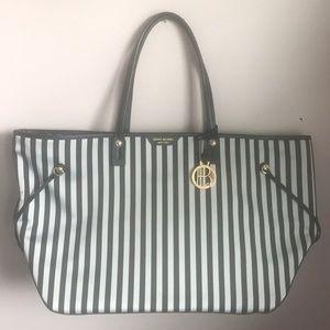 Henri Bendel Black and White striped, large purse